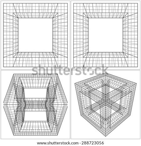 Geometric Sliced Cube Box Vector 44 - stock vector