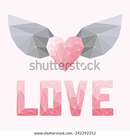 geometric soft colored triangular abstract polygonal heart with wings and love word isolated on pink cover for use in design for valentines day or wedding greeting card - stock vector