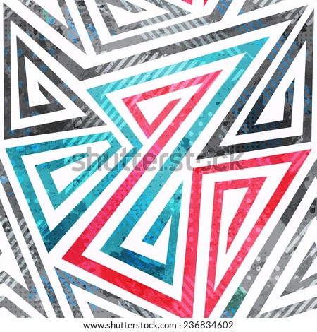 geometric spiral seamless pattern with grunge effect - stock vector