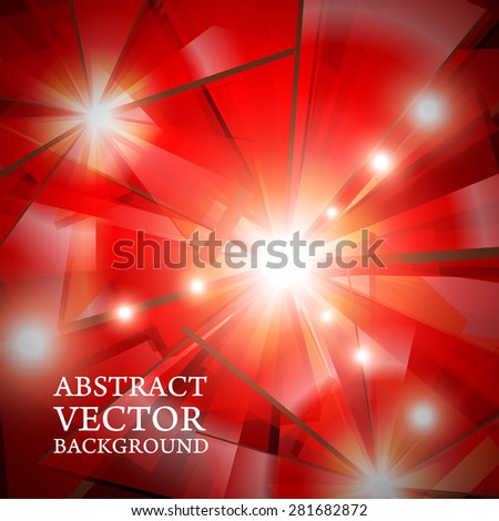 geometric stylish glossy abstract background in red - stock vector