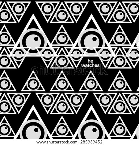 Geometric Supreme Black And White Hipster Background Texture Triangles With An Eye