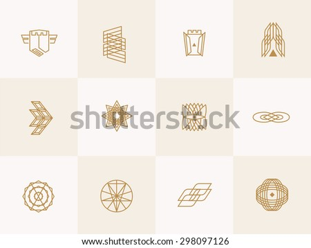 Geometric trendy hipster Icons vector illustration