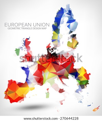 Geometric triangle design map european union vectores en stock geometric triangle design map of the european union the map painted into countries flags colors gumiabroncs Gallery