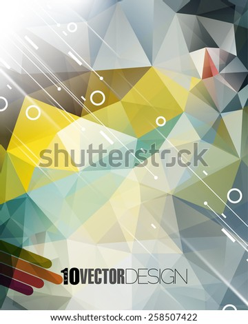 geometric triangle elements and diagonal lines and rings business background eps10 vector - stock vector