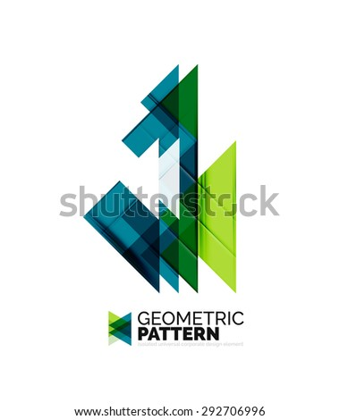 Geometric triangle mosaic pattern element isolated on white. Universal business identity element. Abstract background, online presentation website element, business identity or mobile app cover  - stock vector