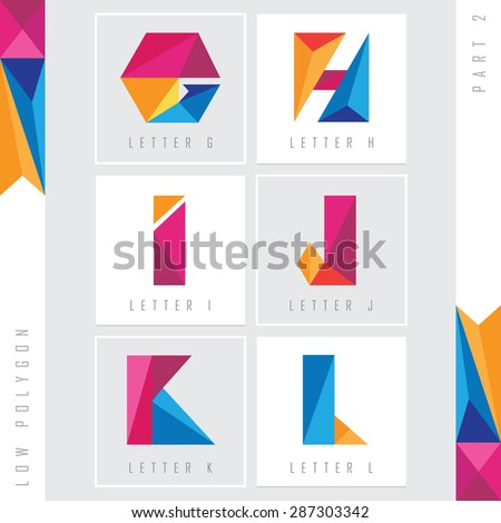geometric triangular low polygon alphabet letters g, h, i, j, k and l. Colorful abstract logo elements - stock vector