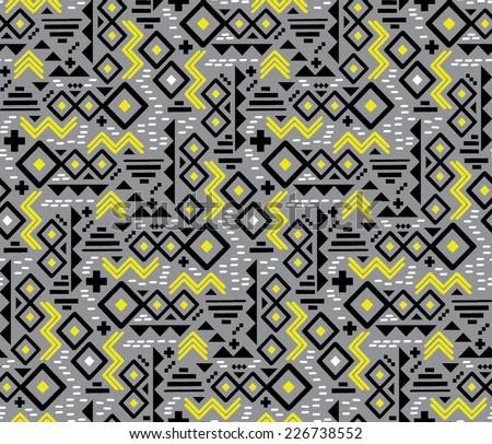 Geometric Tribal Print - Seamless Wallpaper Repeat - stock vector