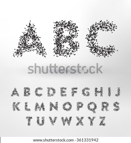 Geometric Type Design Set - Small connected dots and lines form the letters of the English alphabet - Abstract Technological Typography Collection - stock vector