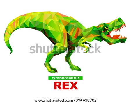 Geometric tyrannosaurus rex with many triangles - stock vector