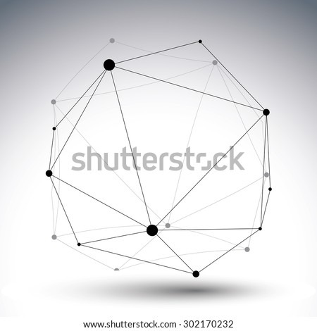 Geometric vector abstract 3D complicated lattice �?ио�?�Ðµ, single color messy eps8 conceptual tech illustration. - stock vector
