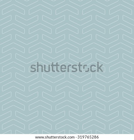 Geometric vector blue ornament with dotted white arrows. Seamless abstract background - stock vector