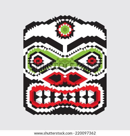 Geometric vector haida mask.Modern stylization of North American and Canadian native art - stock vector