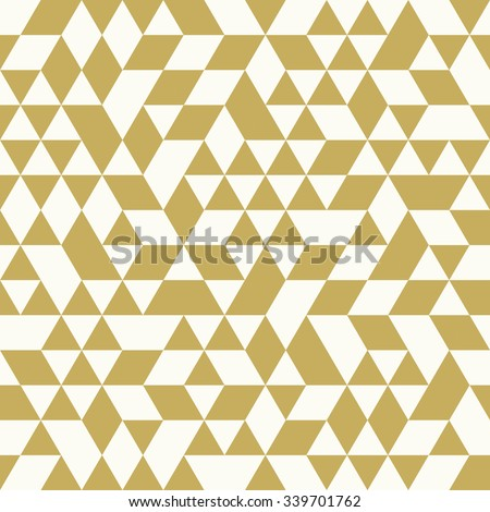 Geometric vector pattern with white and golden triangles. Seamless abstract background - stock vector