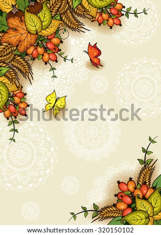 Geometric vertical floral autumn background with butterflies-transparency blending effects and gradient mesh-EPS 10 - stock vector