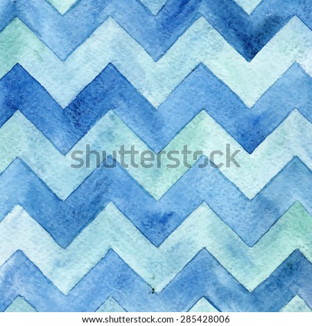 Geometric watercolor chevron pattern. Blue background. - stock vector