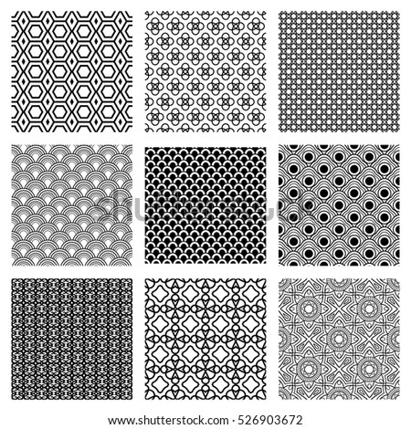 Geometric white and black patterns set. Vector illustration.
