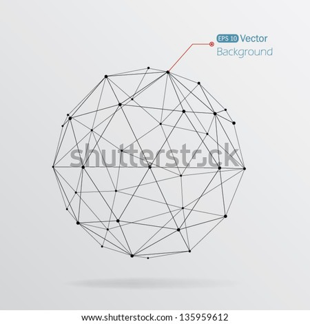 Geometrical background with black lines - stock vector