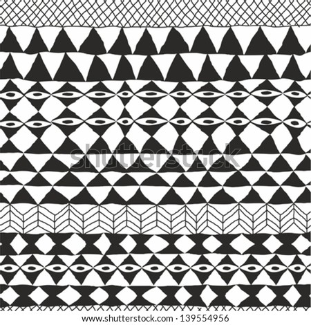 Geometrical black and white ethnic abstract design - stock vector