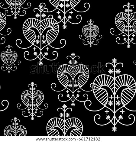 Geometrical Black White Seamless Pattern Voodoo Stock Vector