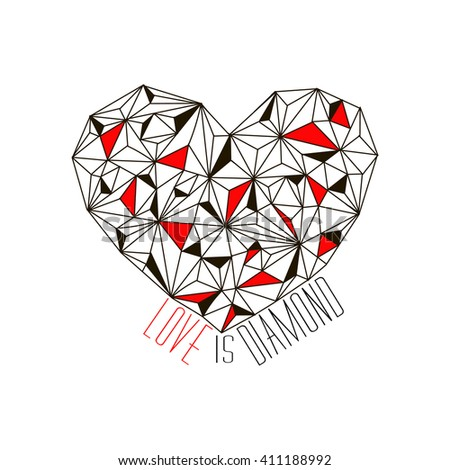 Geometrical heart. Love is diamond. Fashion t-shirt print. Silkscreen. - stock vector