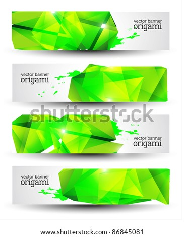 Geometrical Origami Vector Banner Set - stock vector