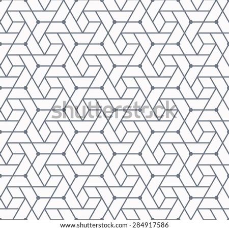 Geometrical polygonal seamless pattern, monochromatic background.  - stock vector