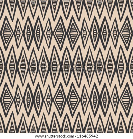 geometrical rhombus tribal pattern in soft pastel color and bold wide black lines, crafty seamless vector background