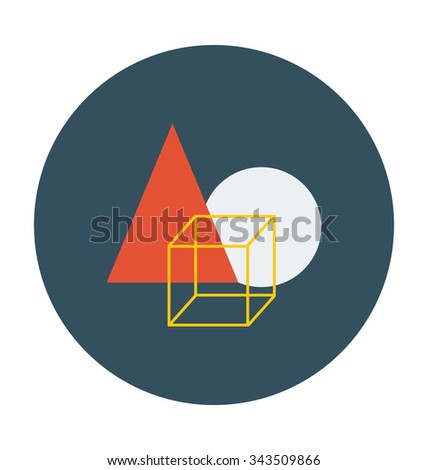 Geometrical Shapes Colored Vector Icon  - stock vector