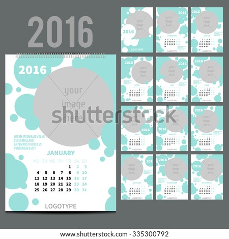 Geometrical Wall Monthly Calendar for 2016 Year. Vector Design Print Template with Place for photo.  A3, A2 or bigger. Week Starts Monday. Set of 12 Months and Cover. 13 pages. Fresh blue color - stock vector