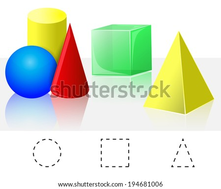 Geometry. Cube, Pyramid, Cone, Cylinder, Sphere - stock vector