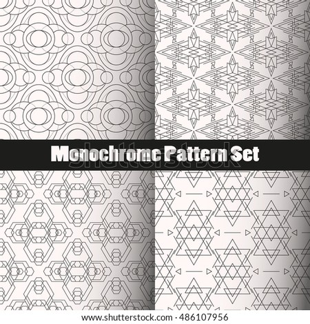 Geometry Monochrome Seamless Vector Pattern Set. Four patterns