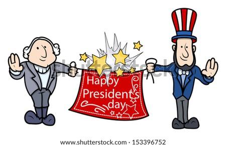 George Washington & Abraham Lincoln Greets - Presidents Day Vector Illustration - stock vector