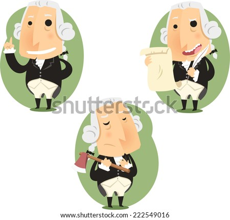 George Washington President Set, vector illustration cartoon. - stock vector