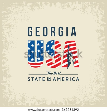 Georgia best state in America, white, vintage vector illustration