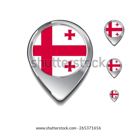 Georgia flag map pointer. 3d Map Pointer with flag glossy button style on gray background - stock vector