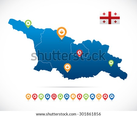 Georgia Map with Navigation Icons - stock vector