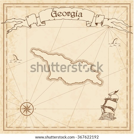 Mexico Old Treasure Map Sepia Engraved Stock Vector - Georgia map template