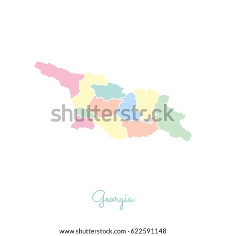 Georgia Region Map Colorful White Outline Stock Vector - Georgia map regions outlined