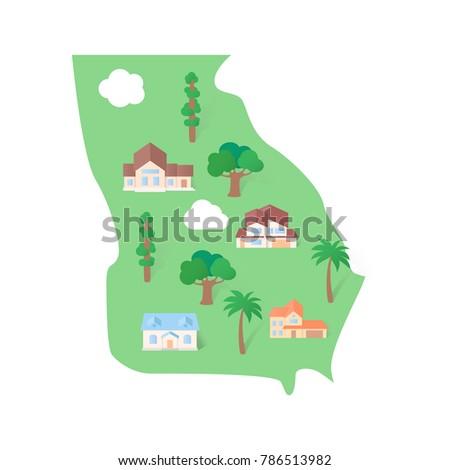 Georgia Usa States Map Stock Vector Shutterstock - Georgia usa map