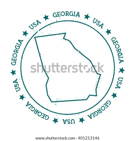 Georgia vector map. Retro vintage insignia with US state map. Distressed visa stamp with Georgia text wrapped around a circle and stars. USA state map vector illustration. - stock vector