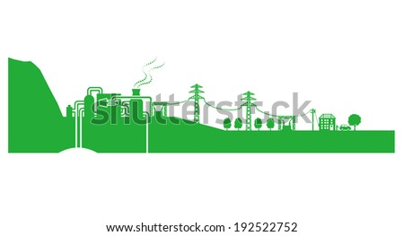 Geothermal power plant  - stock vector