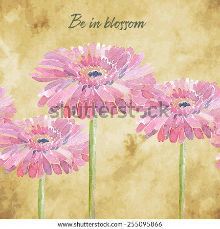 Gerbera. Vector illustration for different occasions, holidays, Woman's Day. Cute summer and spring card. Floral seamless pattern with pink watercolor flowers on the vintage background.  - stock vector