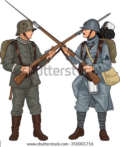 German and French Soldiers from First World War Crossing Each Others Rifles with Bayonets, Illustration Isolated on White Background, EPS 10 Vector - stock vector