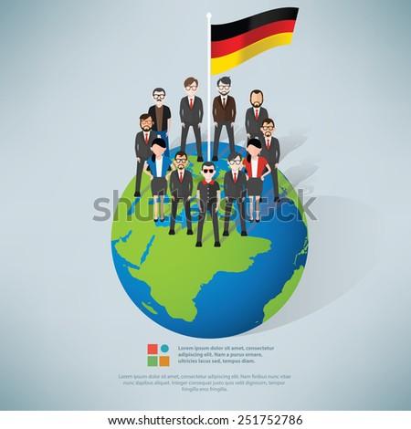 German,businessman info graphic design,clean vector - stock vector