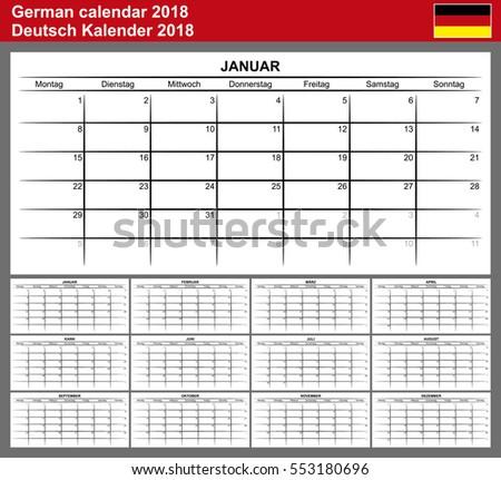 Calendar 2018 planning calendar template black stock vector german calendar 2018 planning calendar template black and white vector illustration january saigontimesfo