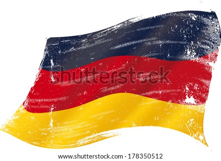German flag grunge. flag of  Germany in the wind with a texture - stock vector