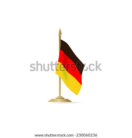 German flag standing isolated on white background - stock vector