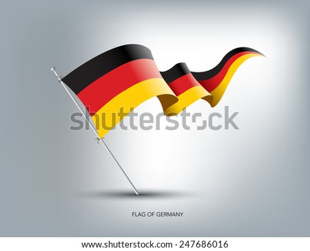 German flying flag in isolated background - stock vector