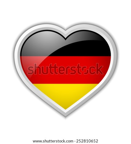 German heart shaped badge or icon with shadow on white background - stock vector