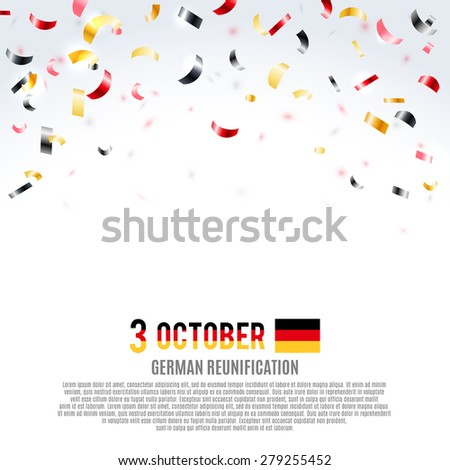 German Reunification Day background. Vector illustration, eps10. - stock vector